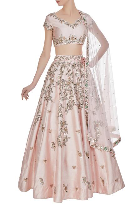 Mirror & mukaish embroidered lehenga set