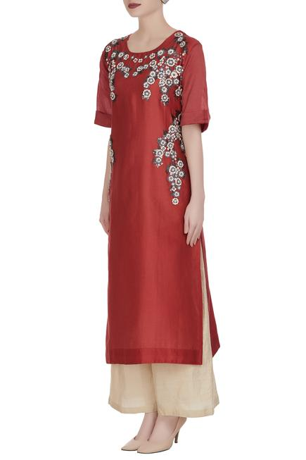 Denim embroidered floral motif tunic