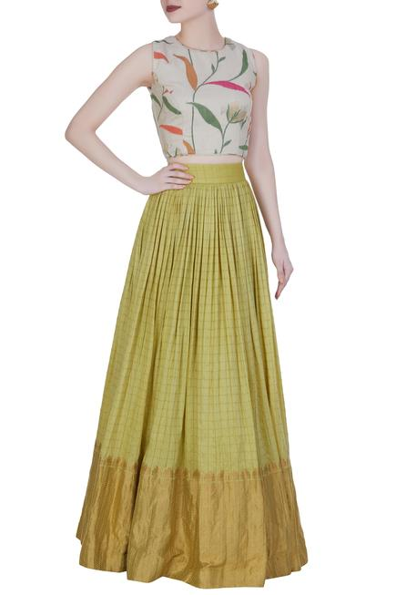 off-white printed crop top with banarasi work skirt