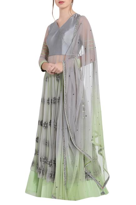 Grey & green silk thread work & ari technique anarkali with separate skirt