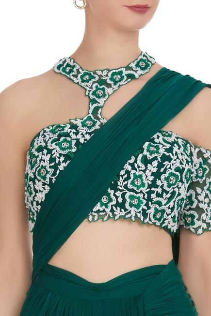Pre-stitched saree with embroidered blouse