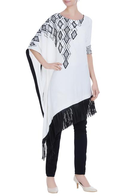 Kaftan style tunic with faux leather applique & pants