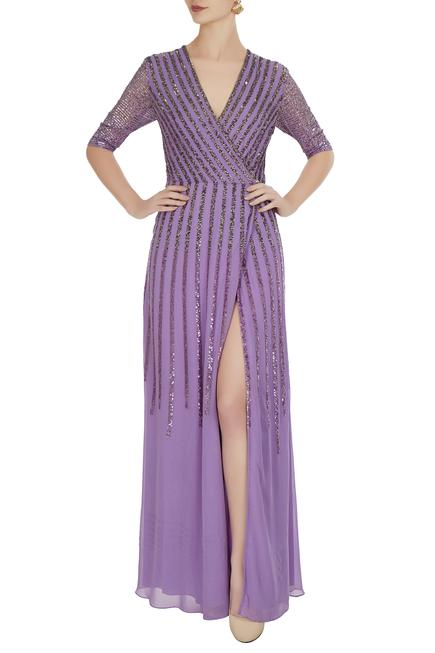 Violet georgette silk embroidered gown