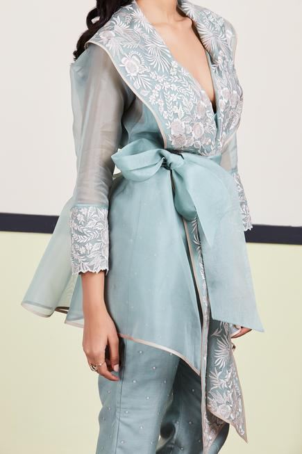 Floral Embroidered Organza Jacket
