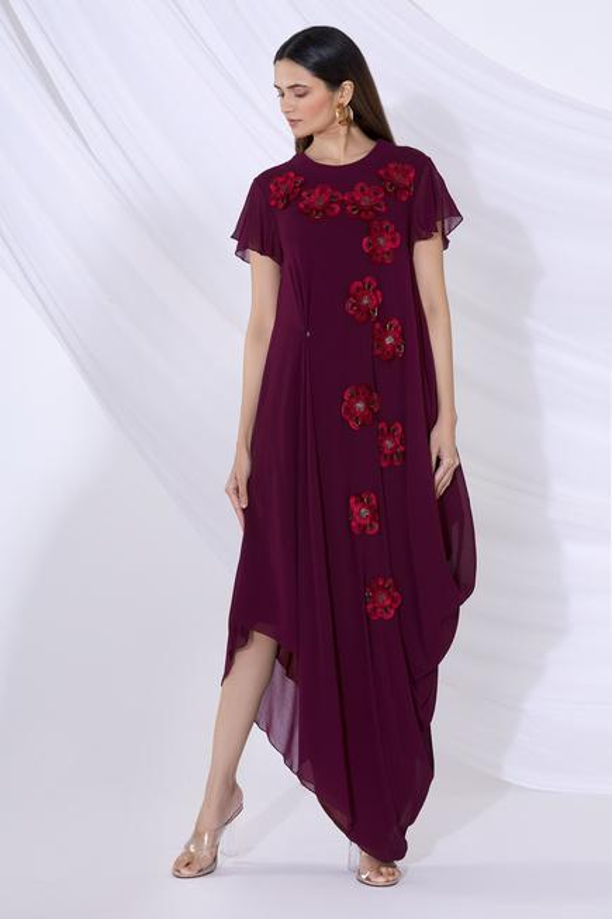 Floral Applique Draped Dress