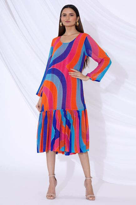 Colorblock Print Midi Dress