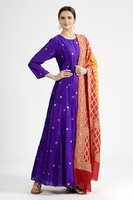 Banarasi Silk Embroidered Anarkali with Dupatta
