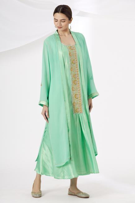 Embroidered Silk Kurta & Palazzo Set with Jacket