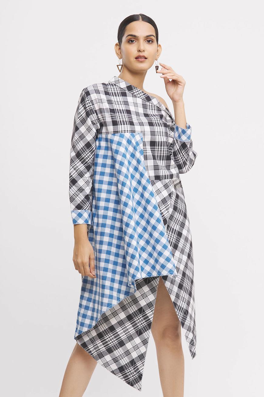 Checkered One-Shoulder Dress