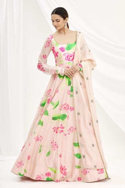 Chanderi Printed Anarkali with Dupatta