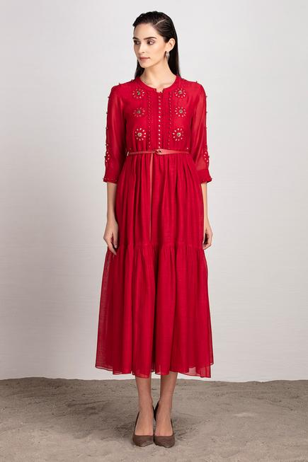 Chanderi Tiered Dress