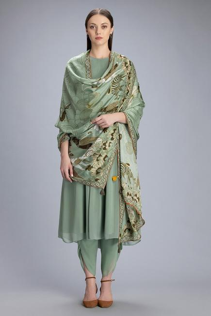 Anarkali Set with Printed Dupatta