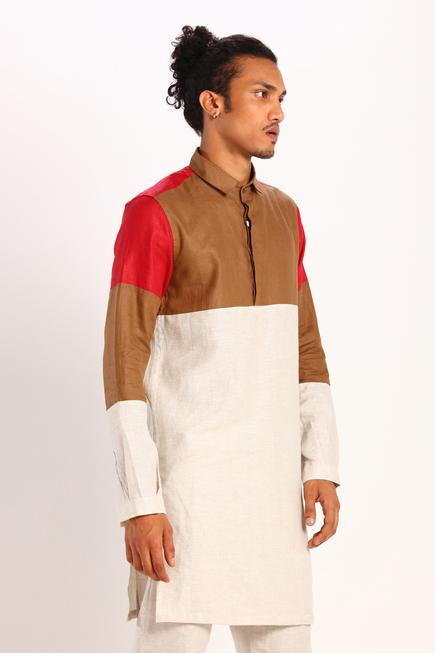Color Block Linen Kurta