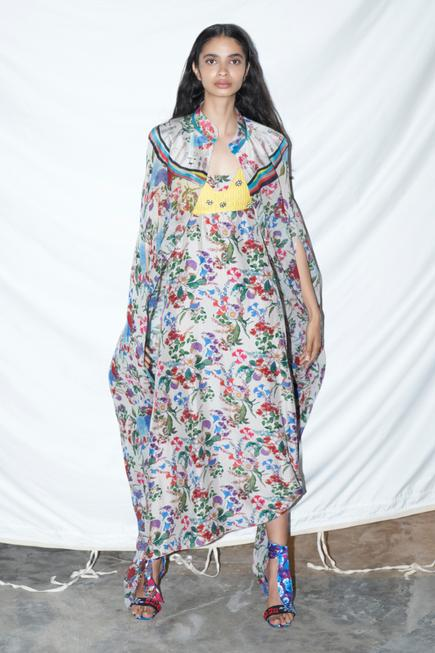 Silk Printed Dress with Cape