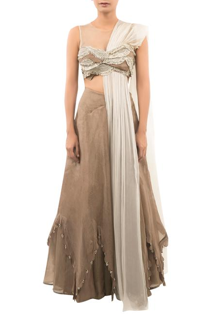 Embroidered Blouse With Attached Drape & Lehenga