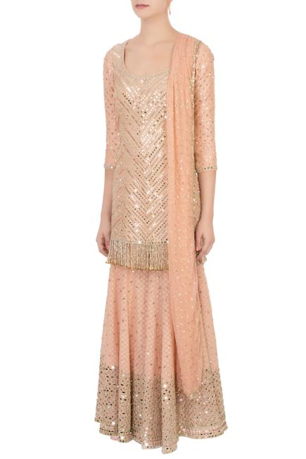 Peach raw silk sequin kurta set