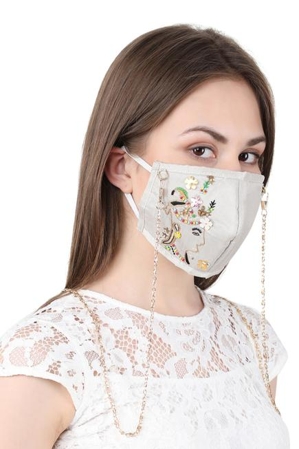 Embroidered Face Mask with Chain ( Single Pc )