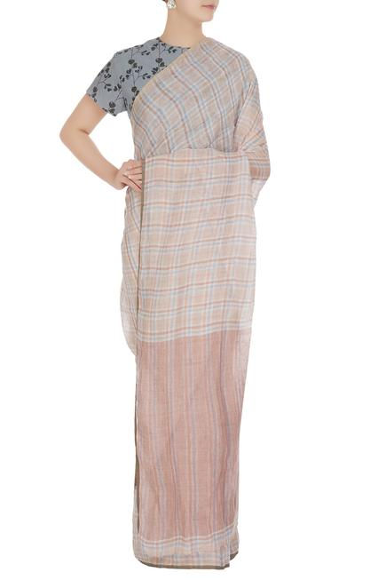 Peach summer-y plaid linen hand woven saree with unstitched blouse