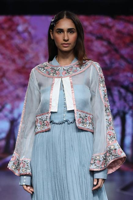 Embroidered Organza Short Jacket