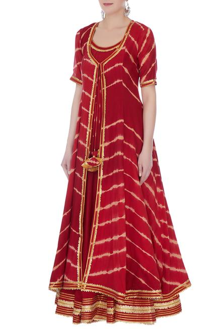 Deep red mullmull gotta patti anarkali with jacket has a round neckline