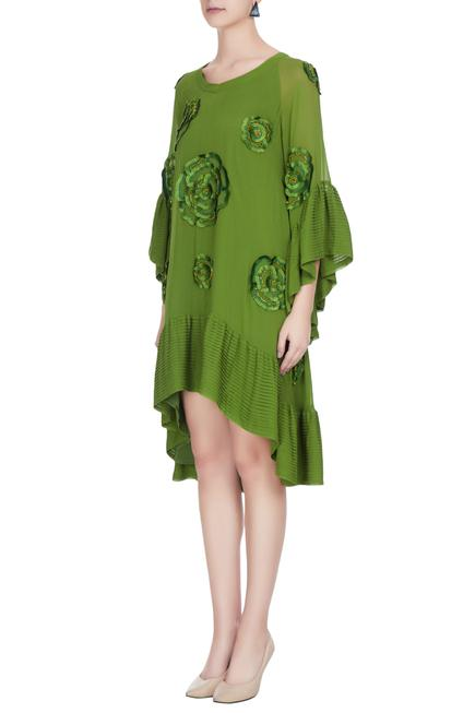 Lime green georgette embroidered frilly detail summer dress