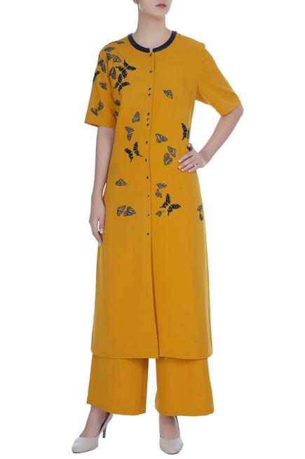 Sequin & bead embroidered butterfly kurta with pants