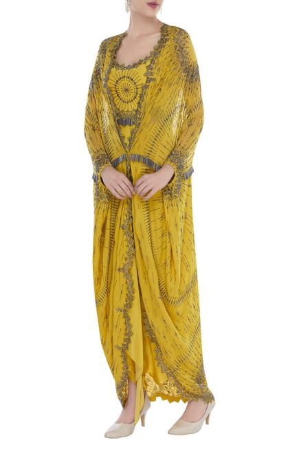 Salli embroidered cape set with draped skirt