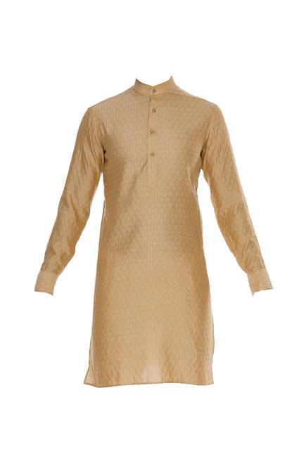 Self embossed cotton silk kurta