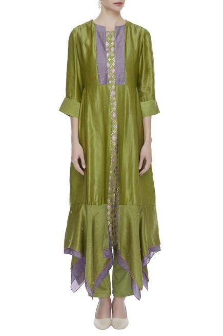 Asymmetric Jacket With Kurta With Pants