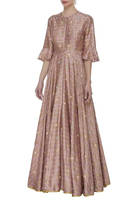Printed & sequin embellished gown