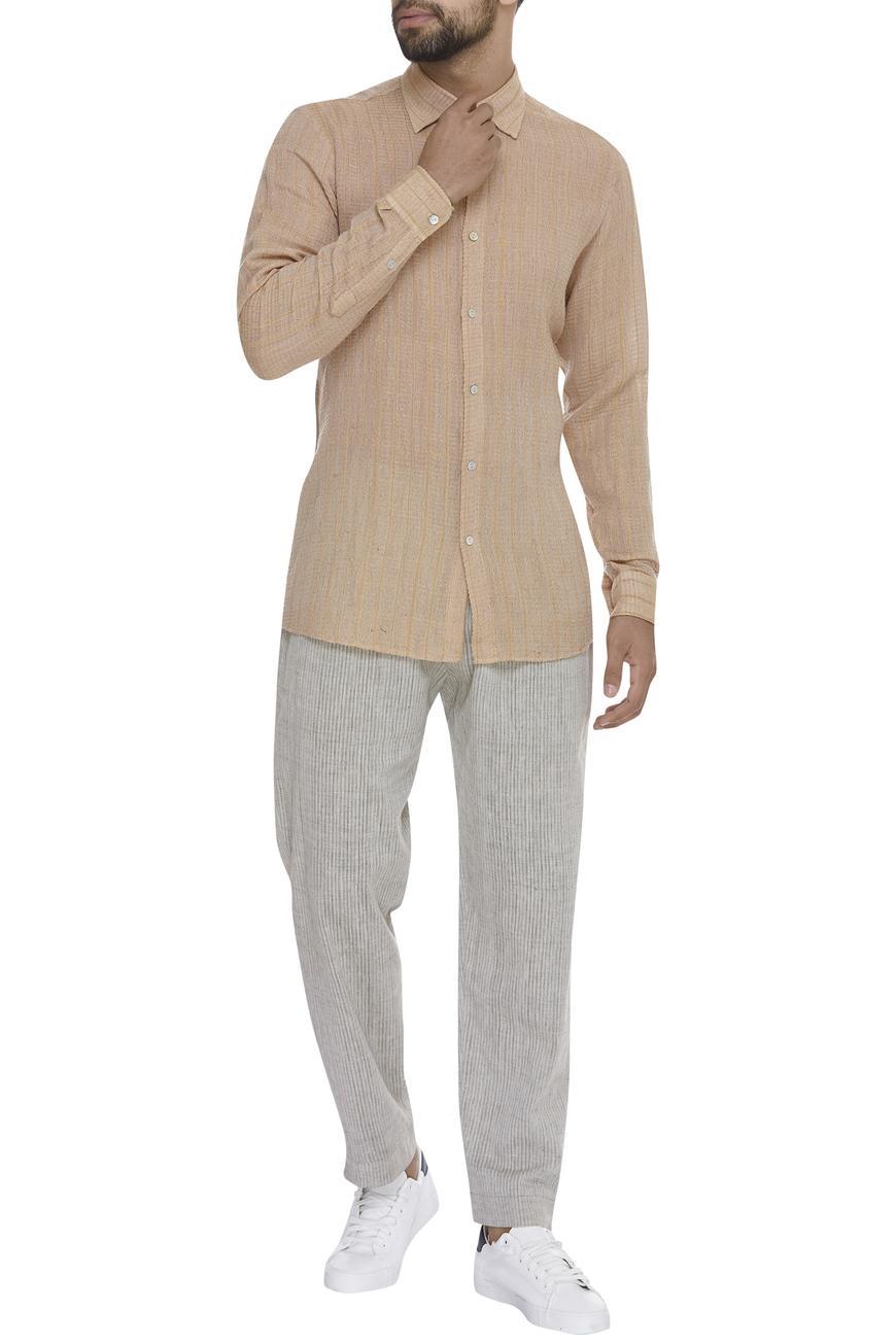 textured Cuff sleeve shirt