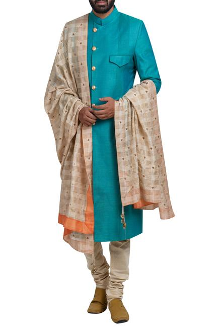 Sherwani set with hand embroidered stole