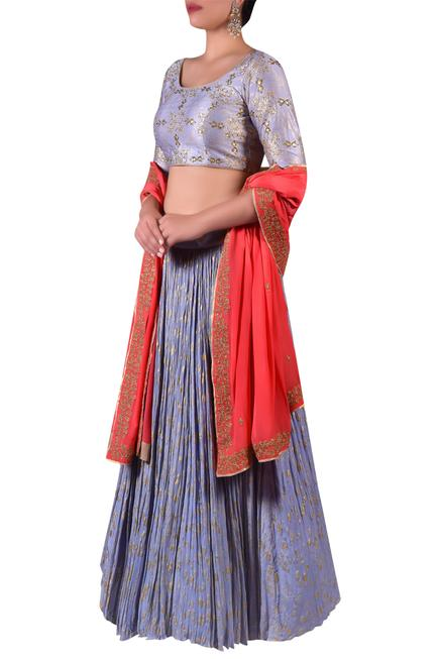 Embroidered blouse with lehenga & zari work dupatta