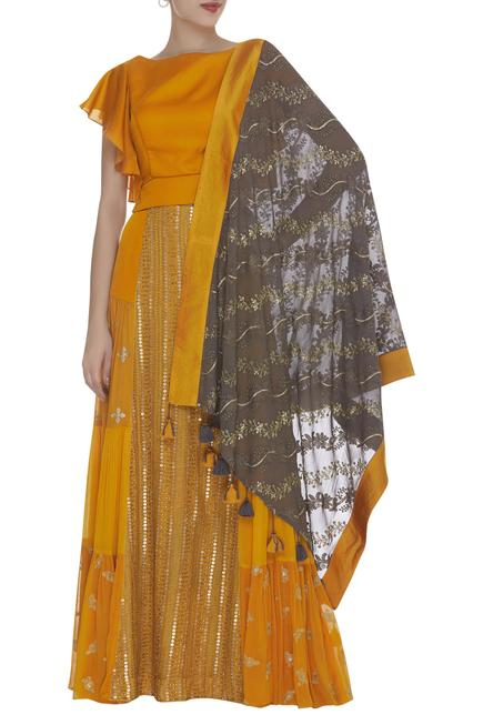 Embroidered lehenga with ruffle sleeves blouse & dupatta