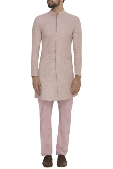 Sequin Embellished Sherwani & Pleated Pants