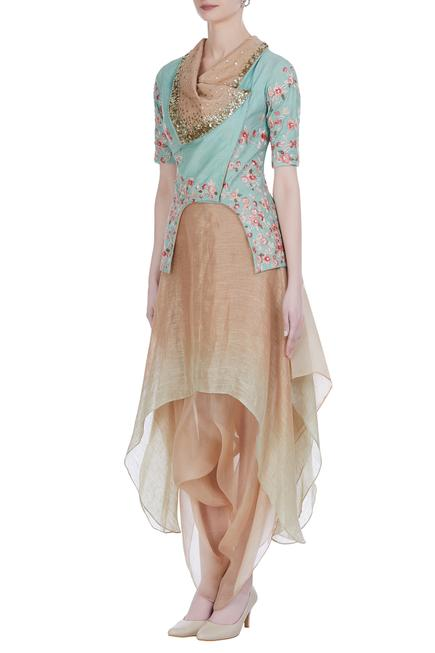 Embroidered collar jacket with draped skirt