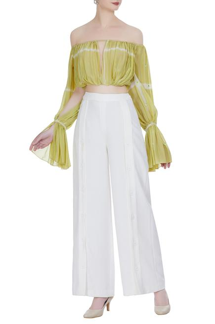 Tie-dye cutout off-shoulder crop top with high-waist pants