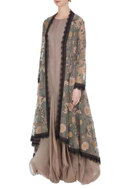 Balloon flared tunic with embroidered jacket