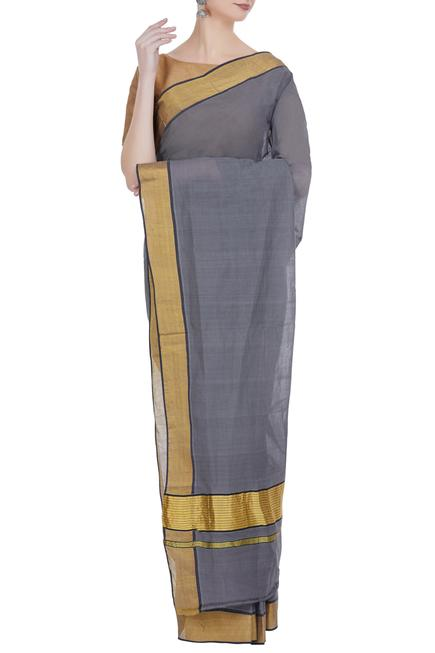 Handloom pure cotton saree with gold border & unstitched blouse