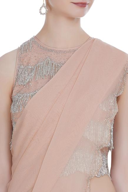 Scallop border saree with hand-embroidered tassel blouse