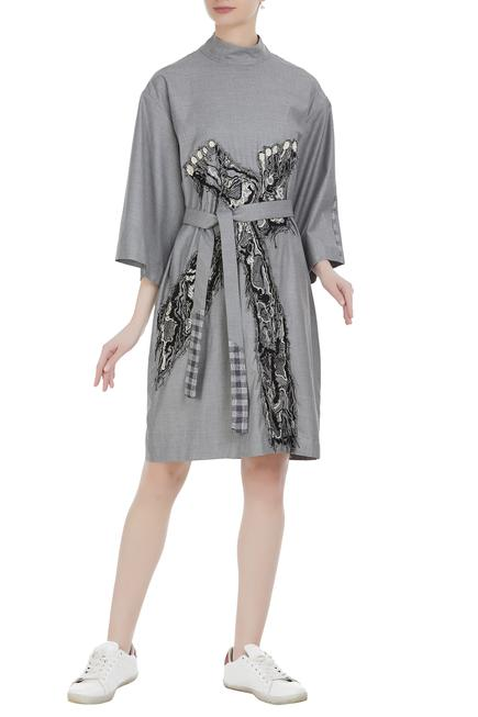 Turtleneck oversized dress with abstract embroidery