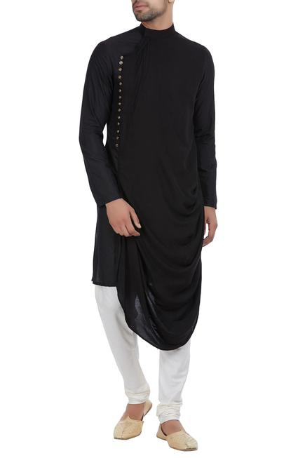 Cowl pleated kurta with side placket