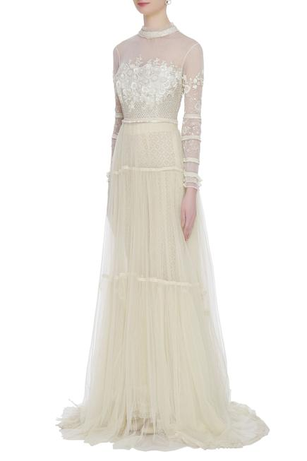 Sheer Train Gown with Pants