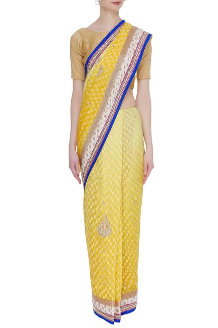 embroidered saree & unstitched blouse