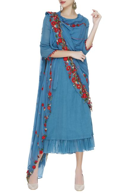 Tunic with embroidered draped dupatta