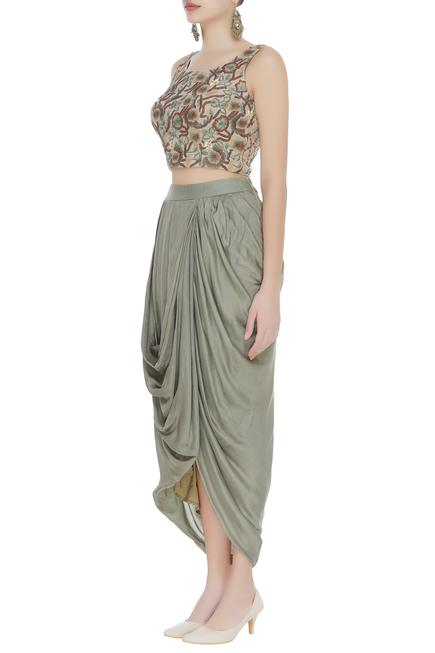 Embroidered top with draped dhoti skirt