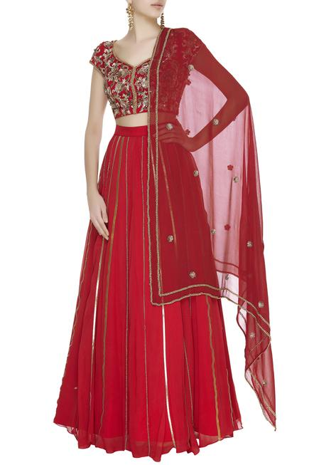 Zardozi & chain embroidered lehenga set
