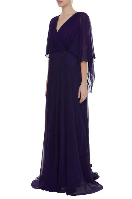 Overlap style gown with long trail