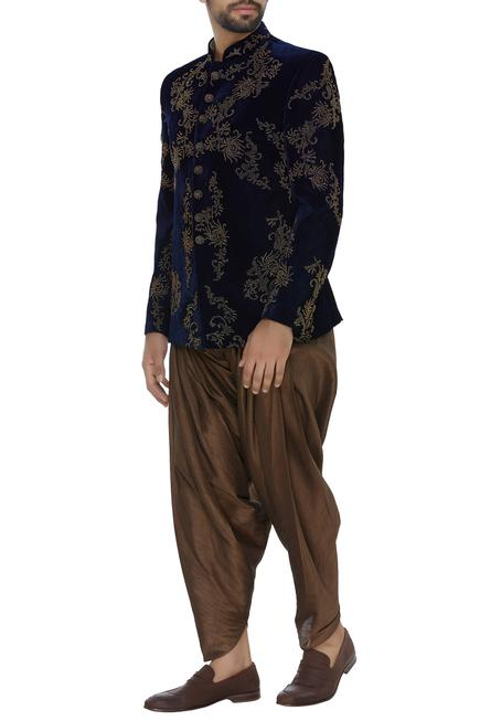 Velvet embroidered bandhgala with patiala pants
