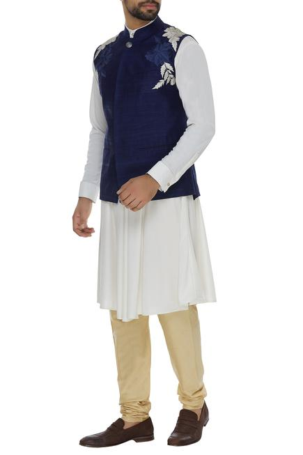 Knit draped kurta with embroidered bandhgala